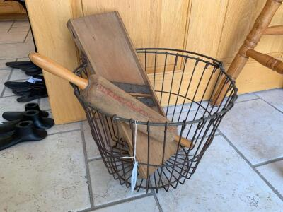Wire egg basket, Kraut cutter, rolling pin
