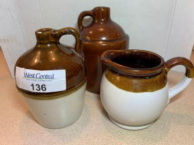 Macomb stoneware jug, miscellaneous creamer pitcher, and miscellaneous jug