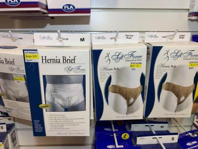 Soft form orthopedic hernia briefs and belt