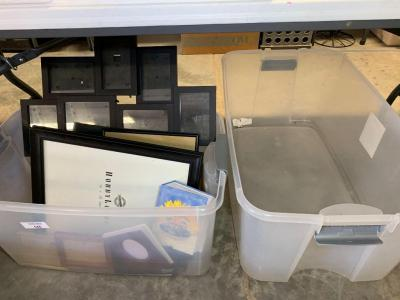 Miscellaneous Picture frames and plastic totes