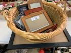 Basket, placemats, and miscellaneous frames