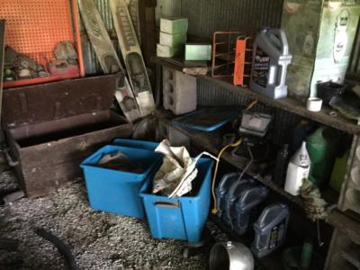 Contents of corner in shed