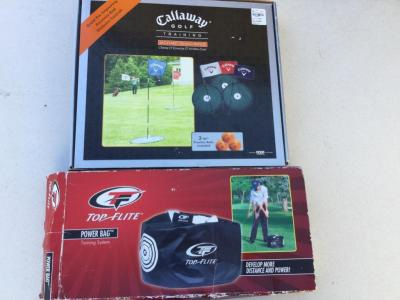 Golf training flags and power bag