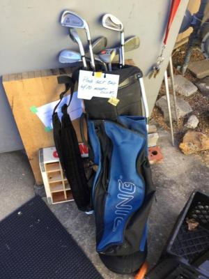 Ping golf bag and assorted clubs
