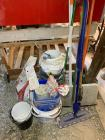 Snow shovel, cleaning items, flower pots, buckets, potting soil