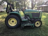 John Deere 4400 Utility Tractor, hydrostatic with mower and 430 Loader