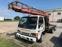 GMC W3500 flatbed truck with Wilkie ladder