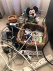 Miscellaneous group, Mickey Mouse, transistor radio, power strips, basket
