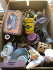 Box of miscellaneous candles, miniatures, stuffed animals