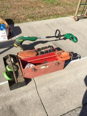 String trimmer tool box jumper cables scroll saw
