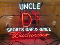 Uncle D's Sports Bar & Grill Budweiser Neon sign