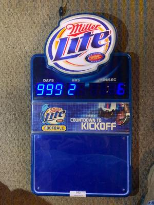Miller Lite Football, Countdown to kickoff lighted sign