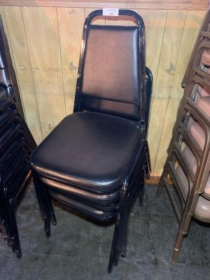 4-Black stack-able chairs
