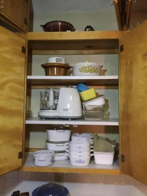 Food processor, CorningWare, contents of 4 shelves top to bottom