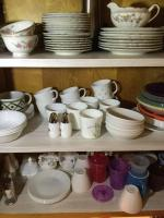 Contents of cabinet, China, Corelle and miscellaneous