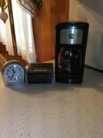 Coffee pot and two clocks