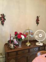 Lamp, fan and decorations