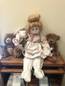 "Doll 30"" and two bears"