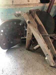 Model T wheel lift, saw blade, tractor seat