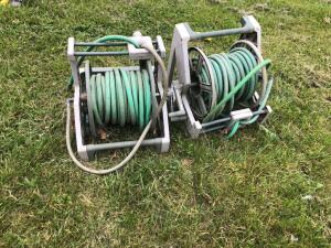 Two garden hose racks