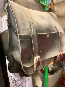 Motorcycle helmet and leather bag