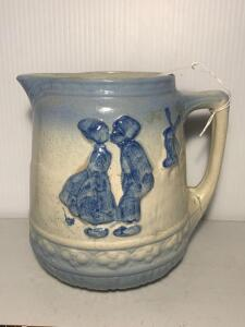 Kissing Dutch Girl & Boy Stoneware Pitcher