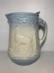 Blue & White Salt Glazed Deer Stone Pitcher