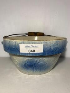 Blue & White hanging fruit stoneware mixing bowl w/handle