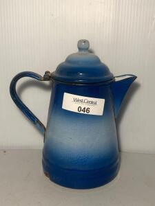 Blue & White Enamelware Coffee Pot