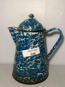 Enamelware Blue Swirl Coffee Pot