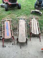 "Group of 3 vintage sleds plus a 32"" kids sled."