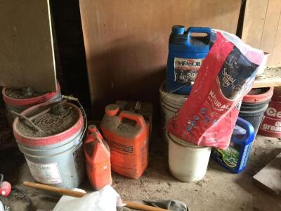Group of oil containers. Some full.