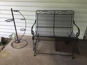 "Bench 42"", and horseshoe plant stand"