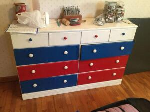 "Colorful chest of drawers 53""x15""x37"""