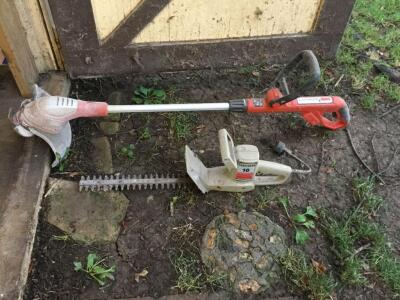 Battery powered trimmer, corded hedge trimmer