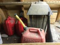Bug zapper and gas cans