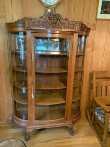 Antique Large Oak Curved Glass Claw Feet Curio Cabinet