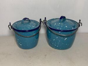 Blue Speckled Graniteware Pots w/lids