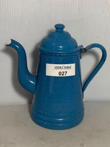 Blue Graniteware Hinged Coffee Pot