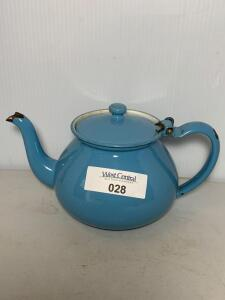 Blue Hinged Graniteware Tea Pot