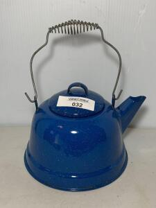Blue Speckled Graniteware Tea Kettle