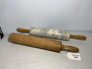 Wooden single handle Rolling Pin & Granite Rolliing Pin w/wood handles