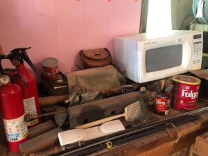 Microwave, vice, fire extinguishers, washers, bolts, nuts and misc