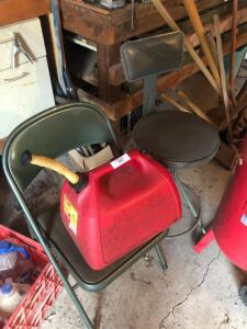Gas can and chairs