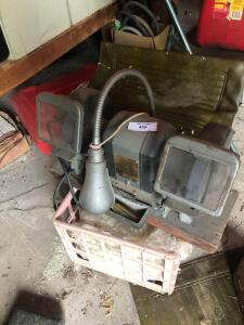 Bench grinder, milk crates and small tool box, Milwaukee empty case