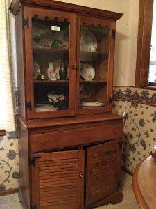 Small china cabinet 32 x 18 x 66 has a pull out tray