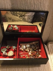 Jewelry box, rings and earrings