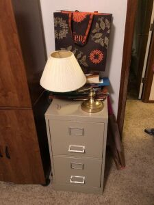 Two drawer file cabinet, desk lamp, extras