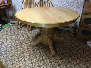 48 inch round pedestal table One 18 inch board under the Tv