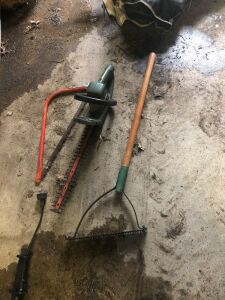 Electric hedge trimmer, and weed whip